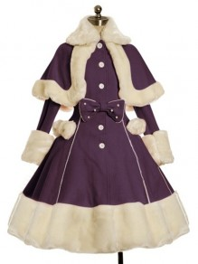 Lilac Patchwork Bow Fur Turndown Collar Long Sleeve Cute Wool Coat