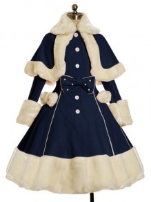 Dark Blue Patchwork Bow Fur Turndown Collar Long Sleeve Cute Wool Coat