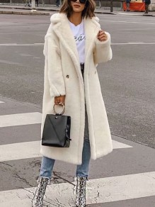 White Patchwork Faux Fur Buttons Pockets Turndown Collar Long Sleeve Fashion Teddy Coat Outerwear