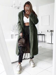 Army Green Patchwork Buttons Pockets Turndown Collar Long Sleeve Fashion Outerwear