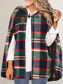 Blue Green Buffalo Plaid Buttons Long Sleeve Elegant Christmas Party Cloak Cape Hooded Coat