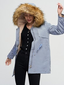 Sky Blue Patchwork Drawstring Pockets Hooded Long Sleeve Fashion Outerwear
