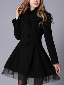 Black Patchwork Lace Buttons Vintage Turndown Collar Long Sleeve Fashion Outerwear