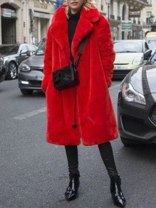 Red Patchwork Faux Fur Turndown Collar Long Sleeve Elegant Coat