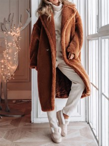 Brown Faux Fur Pockets Turndown Collar Long Sleeve Fashion Teddy Coat