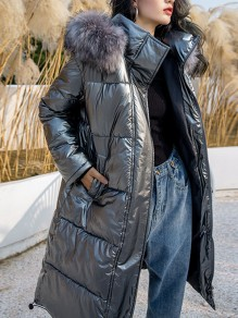 Silver Patchwork Buttons Pockets Fur Hooded Long Sleeve Fashion Outerwear