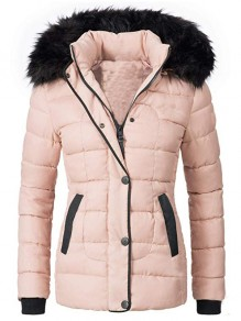 Pink Patchwork Buttons Pockets Fur Hooded Long Sleeve Fashion Outerwear