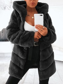 Black Patchwork Comfy Fur Hooded Long Sleeve Fashion Outerwear
