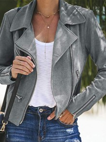 Grey Patchwork Zipper Turndown Collar Fashion PU Leather Outerwear