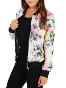 White Floral Zipper Embroidery Others Long Sleeve Fashion Outerwears