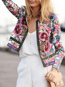 Pink Floral Embroidery Appliques Others Long Sleeve Fashion Outerwears