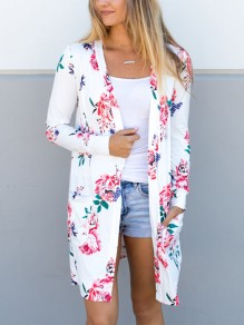 White Floral Embroidery Pockets Others Long Sleeve Fashion Outerwears