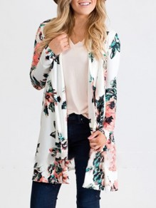 White Floral Embroidery Others Long Sleeve Fashion Outerwears