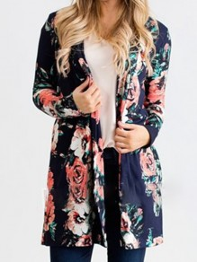 Sapphire Blue Floral Embroidery Others Long Sleeve Fashion Outerwears