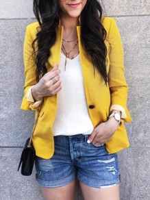 Yellow Pockets Buttons Band Collar Long Sleeve Elegant Casual Blazer Coat