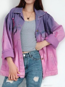 Purple Gradient Color Single Breasted Pockets Cut Out Long Sleeve Jeans Coat
