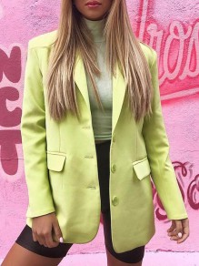 Neon Green Pockets Buttons Turndown Collar Long Sleeve Elegant Formal Blazer Coat