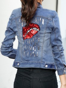 Blue Patchwork Sequin Single Breasted Pockets Long Sleeve Jeans Coat