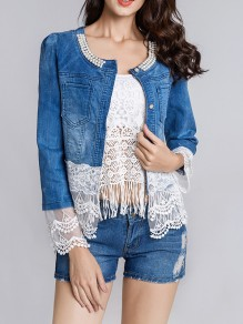 Blue Patchwork Lace Pearl Pockets Long Sleeve Fashion Jeans Coat