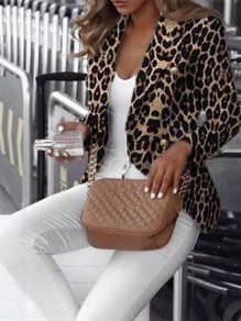 Brown Leopard Long Sleeve Fashion Outerwears