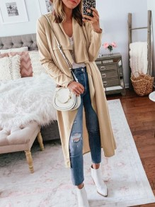 Beige Irregular Bodycon Comfy Long Sleeve Going out Outerwears