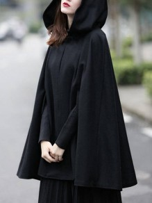 Black Buttons Hooded Sleeveless Fashion Cape Cloak Wool Coat