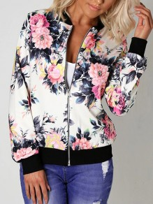 White Floral Pattern Zipper Round Neck Long Sleeve Fashion Outerwear