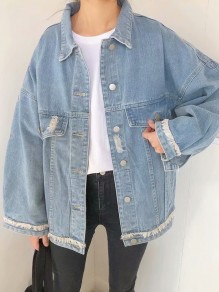 Blue Single Breasted Pockets Turndown Collar Distressed Oversize Jeans Coat