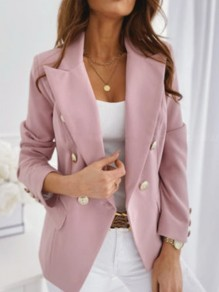 Pink Pockets Double Breasted Turndown Collar Long Sleeve Blazer Coat