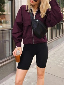 Burgundy Patchwork Zipper Pocket Turndown Collar Long Sleeve Fashion Casual Oversized Cargo Sports Coat