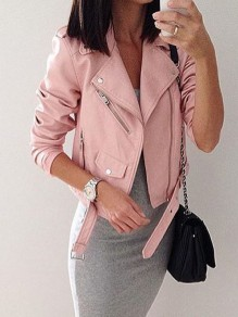 Perfecto veste en simili cuir mode femme jacket rose
