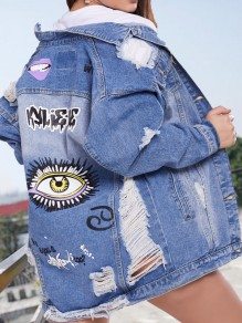 Veste en jean cartoon motif déchiré troué oversized femme jacket bleu