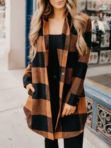 Orange Black Plaid Pockets Turndown Collar Long Sleeve Fashion Coat