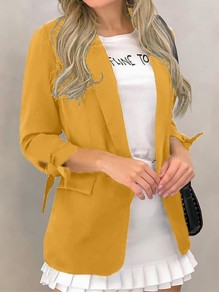 Yellow Bow Pockets Turndown Collar Long Sleeve Blazer Coat