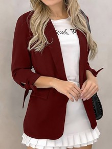 Burgundy Bow Pockets Turndown Collar Long Sleeve Blazer Coat