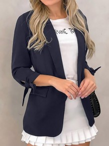 Navy Blue Bow Pockets Turndown Collar Long Sleeve Blazer Coat