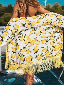 White Lemon Print Tassel Chiffon Cover-Up Bikini Smock Beach Outerwears