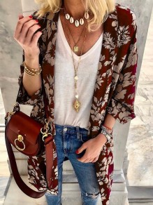 Red Flowers Print 3/4 Sleeve Oversize Bohemian Cardigan Coat