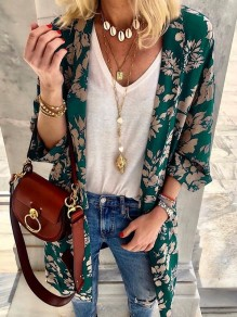 Green Flowers Print 3/4 Sleeve Oversize Bohemian Cardigan Coat