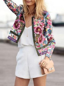 Pink Floral Print Long Sleeve Fashion Tribal Outerwear