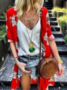 Red Floral Print V-neck Fashion Outerwear
