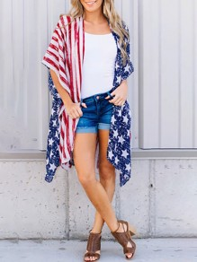 White American Flag Print Independence Day Short Sleeve Chiffon Beachwear Bikini Kimono Cover Up Outerwear
