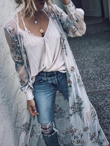 White Floral Print V-neck Long Sleeve Fashion Outerwears