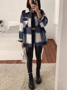 Navy Blue Plaid Pocket Button Turndown Collar Boyfriend Oversize Blouse Shirt Jacket Lumberjack Jacket