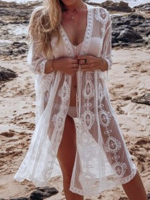 White Lace Button Long Sleeve Elegant Beach Cardigan Bikini Cover Up