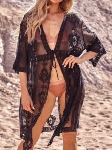 Black Lace Button Long Sleeve Elegant Beach Cardigan Bikini Cover Up