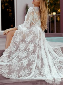 White Lace Long Sleeve Elegant Beach Long Cardigan Bikini Cover Up