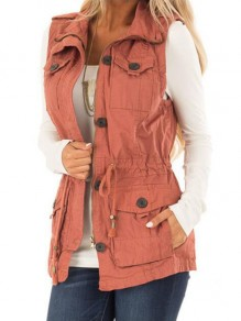 Pink Pockets Single Breasted Turndown Collar Countryside Cargo Distressed Vest Coat