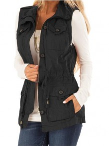 Black Pockets Single Breasted Turndown Collar Countryside Cargo Distressed Vest Coat