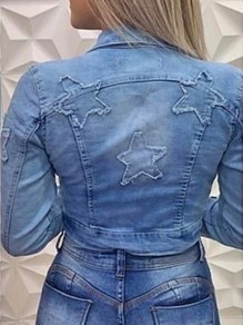 Blue Star Print Pockets Turndown Collar Long Sleeve Short Denim Jacket
